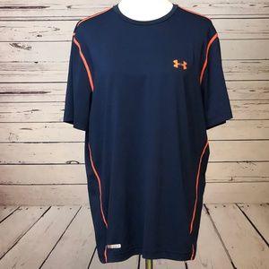 Under Armour XL T-Shirt Fitted HeatGear Blue Crew